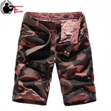 Cargo-Shorts Orange Army-Green Bermuda Military-Style Male Camouflage Cotton Summer Breeches