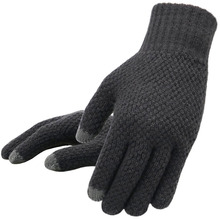 Zimowe męskie rękawiczki z dzianiny z ekranem dotykowym wysokiej jakości męskie rękawiczki zagęścić ciepła wełna kaszmirowe solidne męskie rękawiczki biznesowe jesień tanie tanio Akrylowe Poliester Dla dorosłych Stałe Nadgarstek Moda Outdoor sports bicycle Free Size Knitted Gloves Touch screen Anti-skid