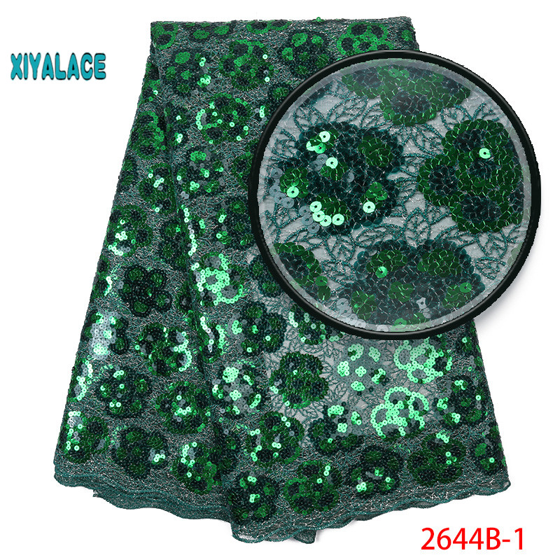 African Lace Fabric 2019 High Quality Nigerian Lace Fabrics Organza Sequins Embroidery French Tulle Lace Fabric YA2644B-1