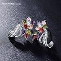 ANFASNI Lexury Women Bride Stud Earrings Multicolor/Clear Flower Earrings AAA Zirconia Stone Earrings Jewelry  CER0201