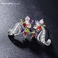 Anfasni lexury mulheres noiva brincos multicolor/clear flor brincos aaa zirconia pedra brincos jóias cer0201