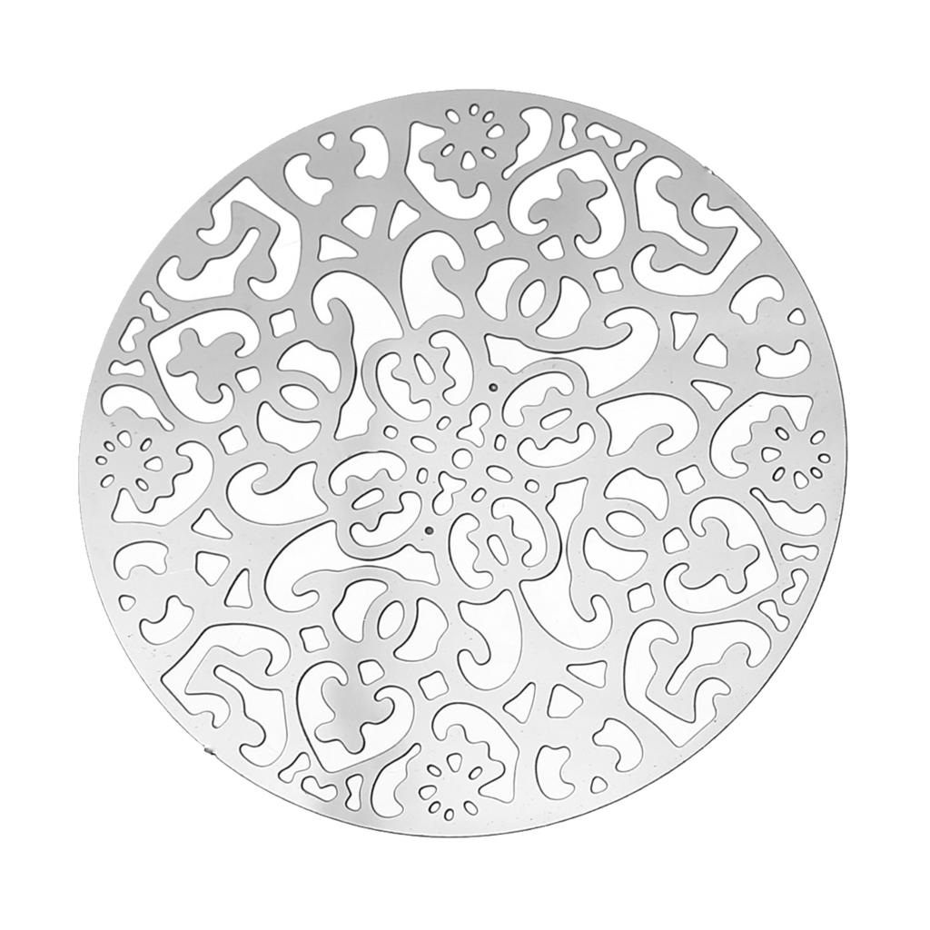 Doreen Box Stainless Steel Embellishments Findings Round Silver Tone Flower Hollow 3.4cm(1 3/8)Dia,Thickness:0.3mm,10 PCs