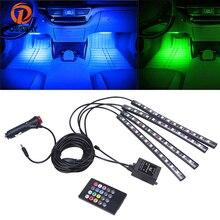 POSSBAY 4 в 1 12 Светодиодный Свет автомобиля RGB светодиодный неоновые огни гамма атмосфере полосы лампы салона украшения лампы с удаленным Управление