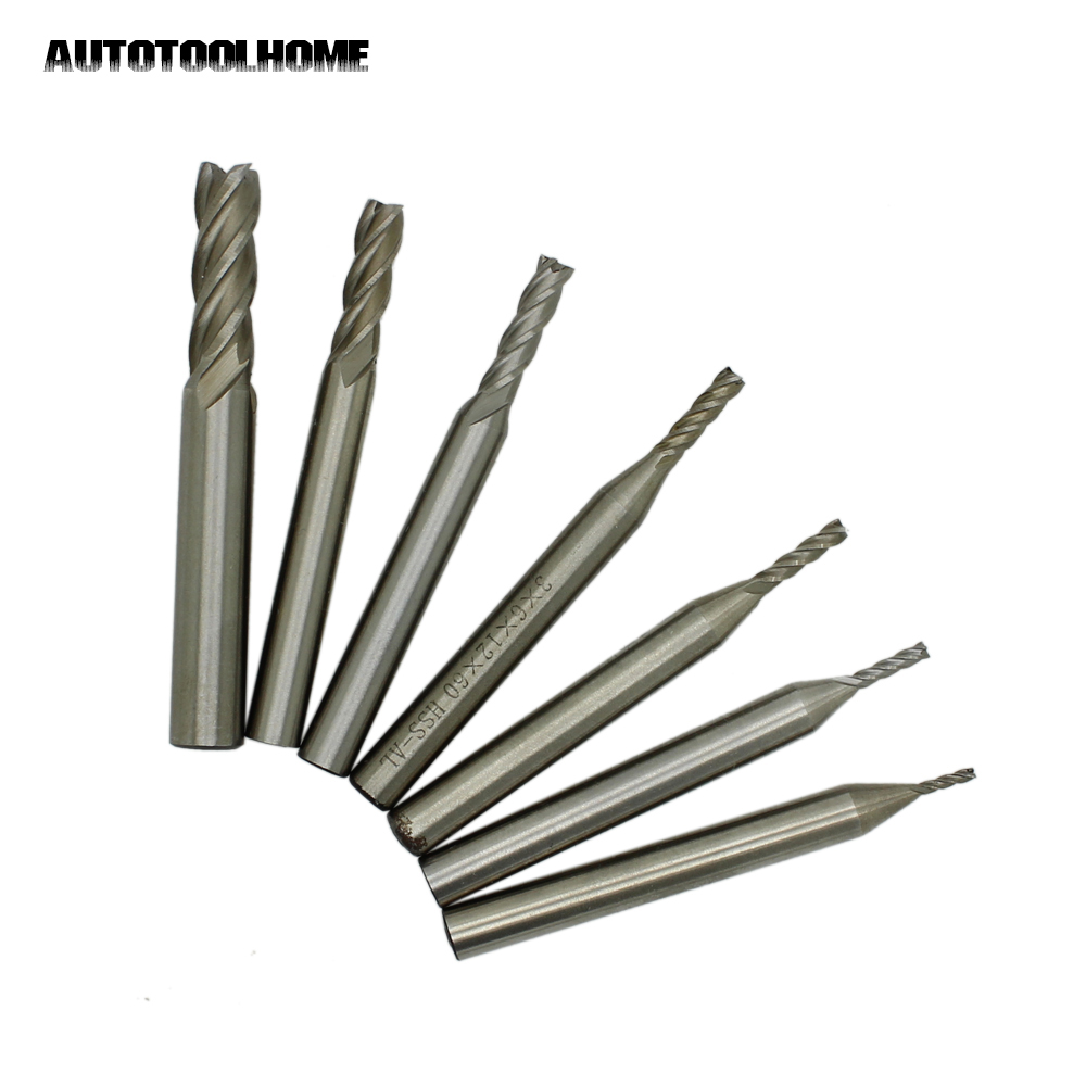 AUTOTOOLHOME 7 size HSS 4 Flutes Router Bit End Mill Milling CNC Cutter Wood Aluminum Straight Shank 1.5 2 2.5 3 4 5 7 mm 10pcs 4 flute end mill set hss aluminum drill bits wood milling cutter mayitr cnc engraving tools 2 2 5 3 4 5 6 7 8 9 10mm