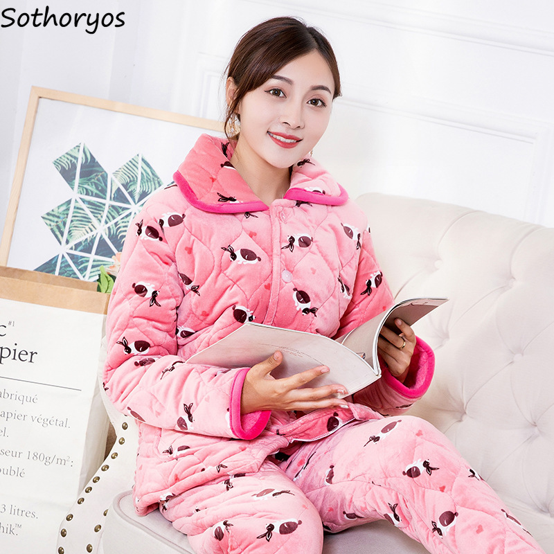 Pajama     Sets   Women Winter Flannel Cartoon Printing Soft   Pajamas   Womens Long Sleeves Soft Pockets 2 Pieces Homewear Kawaii   Set