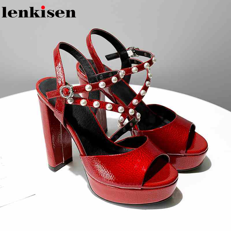 Lenkisen full grain leather causal shoes super high heels summer korean girl pearl-studded platform dating women sandals L7f2