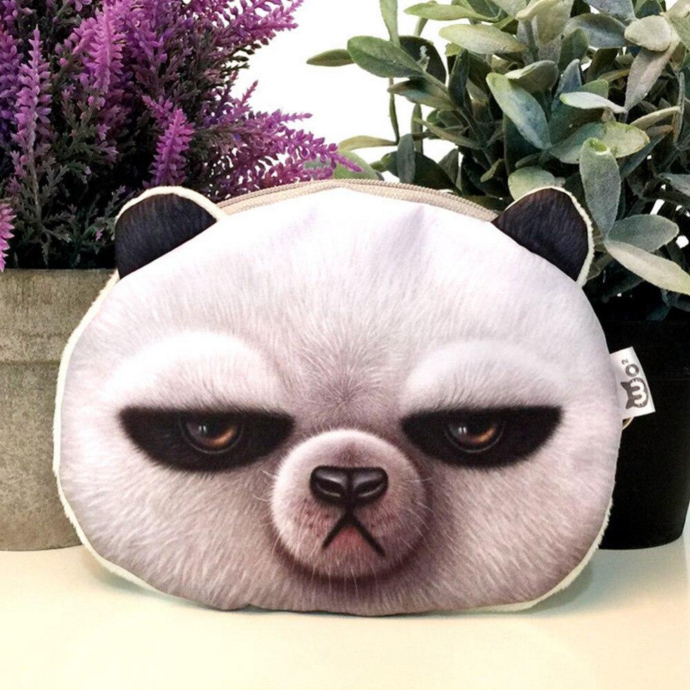 Harajuku Mini Coin Purse Wallet 3D printing Cartoon animal big face cute small zipper bag Children
