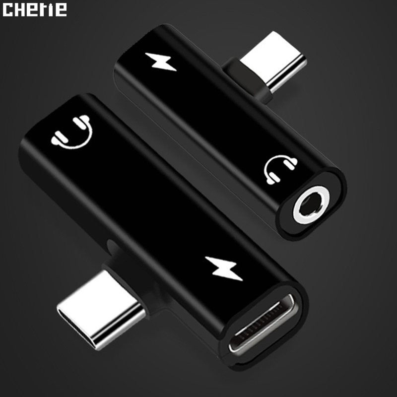 Cherie 2 In 1 Type C Aux 3.5 Mm Jack Headphones Audio Adapter For Samsung Xiaomi Mi 9 Huawei Google HTC USB-C Charging Splitter