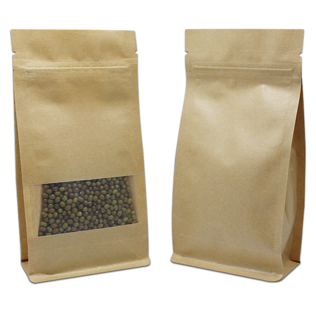 100pcs Brown Kraft Paper Food Packaging Zipper Bag Side Gusset Stand Up Zip Lock Window Pouch