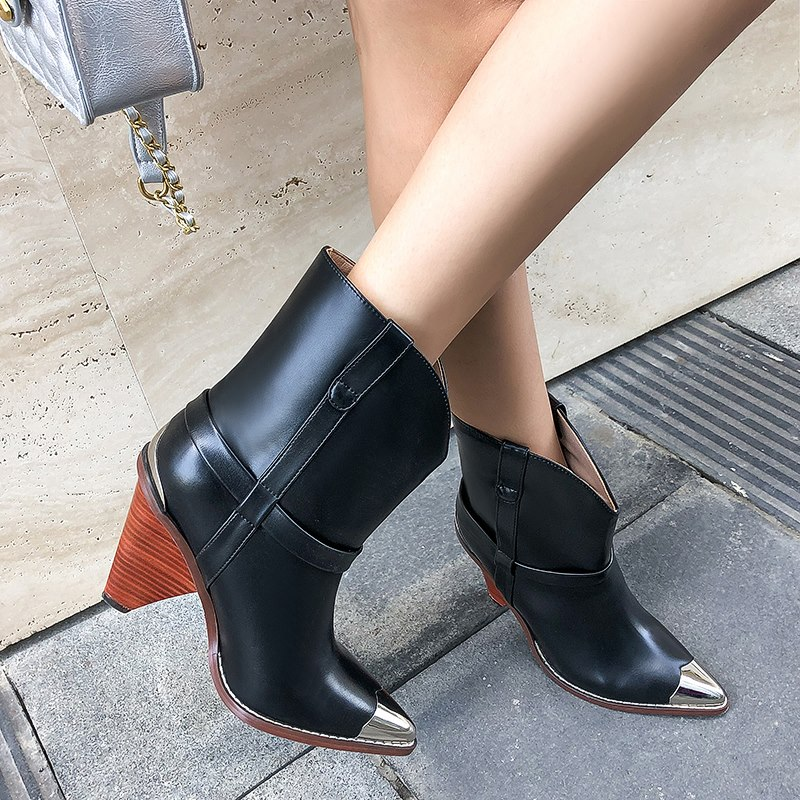 2019 botas de cuero genuino auténtico zapatos de mujer botas de tobillo de Punta Negra para mujer 10 cm botas de tacón alto señoras bota femenina-in Botas hasta el tobillo from zapatos    2