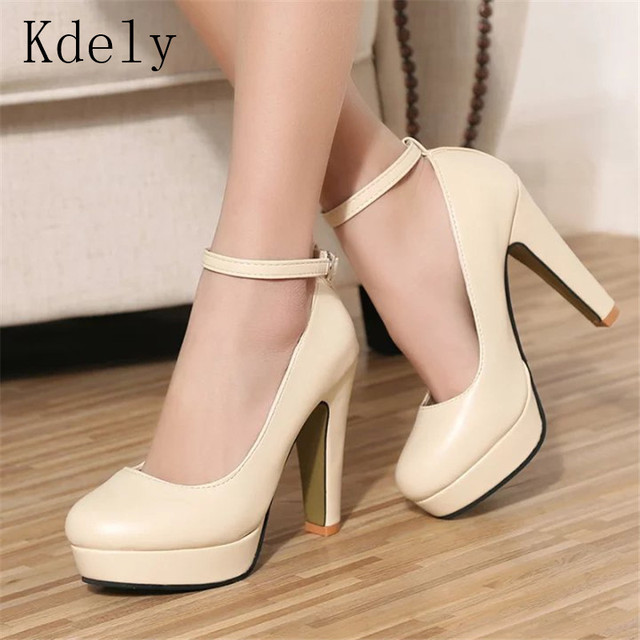 Free shipping 2019 Spring summer Pumps Women's shoe new European fashion high heels shoes waterproof bandage thick with