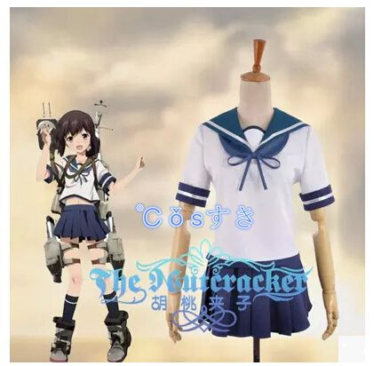 Gratis frakt! Nyeste! Kantai Collection Fubuki Daily Uniform Cosplay Kostyme, Perfekt Tilpasset For Deg!