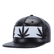 86ec95df23548 2018 Hot Style Leather Fabric Leaf Embroidery Flat Top Hat Baseball Cap Hip  Hop Cap Suitable