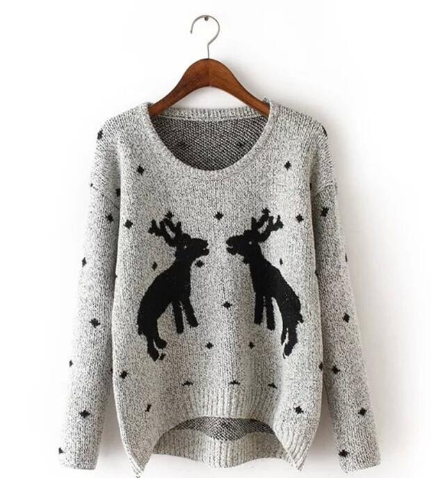 New Women Warm Sweaters Western Christmas Reindeer Snow Deer Embroidery pullover Long Sleeve loose Knit Pullover