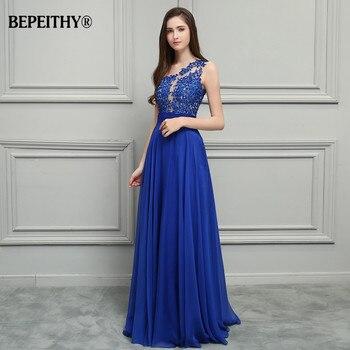BEPEITHY Royal Blue Chiffon Long Prom Dresses 2019 One Shoulder Lace Vintage Evening Dress Vestidos De Festa 4