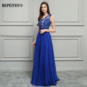 Image 4 - Bepeithy royal vestido de baile, azul chiffon longo vestidos de festa 2020 um ombro renda vintage