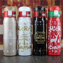 Neu! weihnachten stil 500 ml Doppel Edelstahl Thermoskanne Becher isolierflaschen garrafa termica Becher Flasche Thermocup