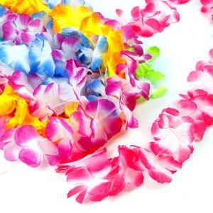 Image 4 - QIFU 10Pcs Hawaiian Party Artificial Flowers leis Garland Necklace Fancy Hawaii Wreath Tropical Beach Party Decor Wedding Gifts