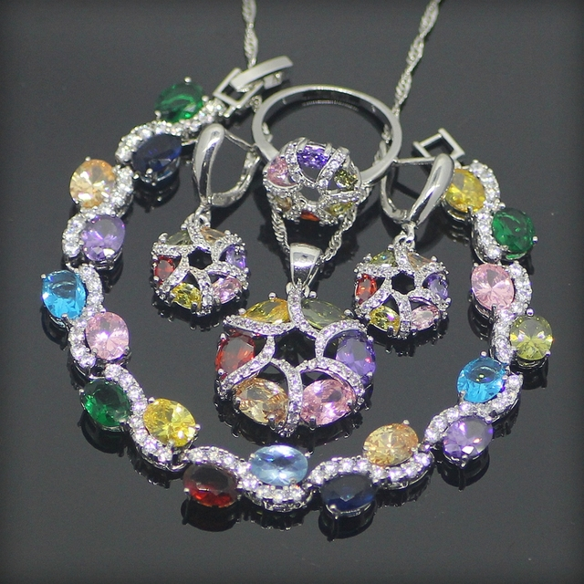 Multi Colored White Created Topaz 925 Sterling Silver Jewelry Sets For Women Earrings/Pendant/Necklace/Rings/Bracelets Free Box