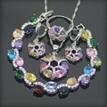Multi Colorido Branco Criado Topázio Esterlina 925 Conjuntos de Jóias de Prata Para As Mulheres Brincos/Pingente/Colar/Anéis/pulseiras Caixa Livre
