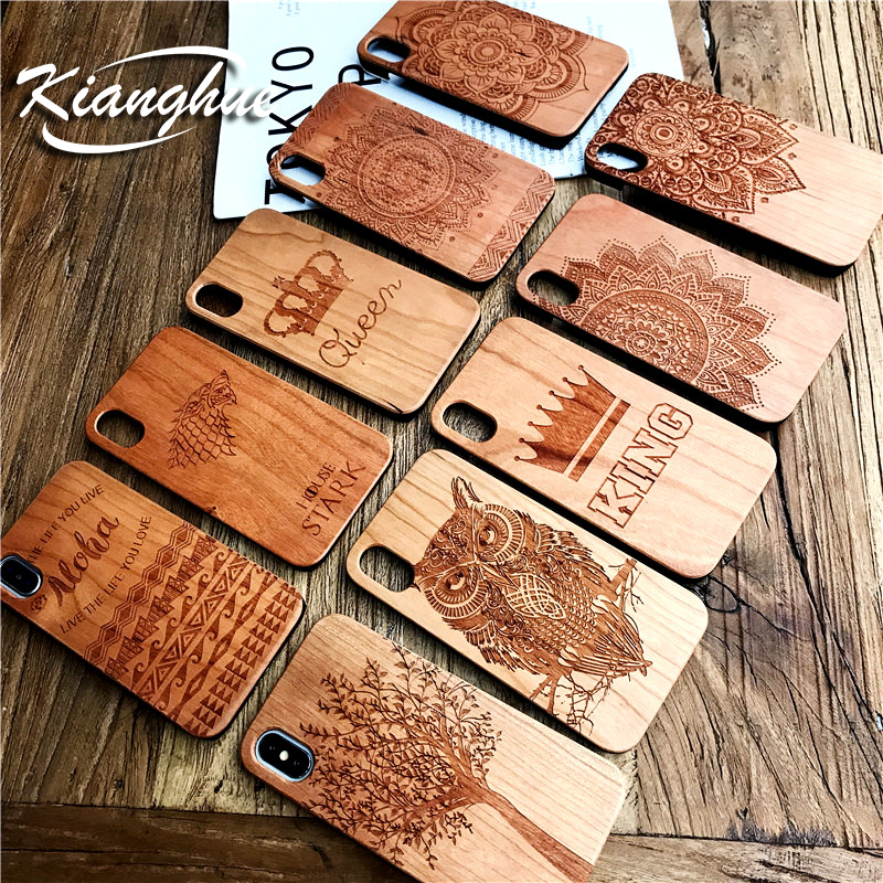 <font><b>Luxury</b></font> <font><b>Case</b></font> For <font><b>IPhone</b></font> X 8 7 6s 6 Plus Wood 3D Relief Retro Texture Full Back Cover PC Wooden Hybrid Phone Shell Shockproof Silm image