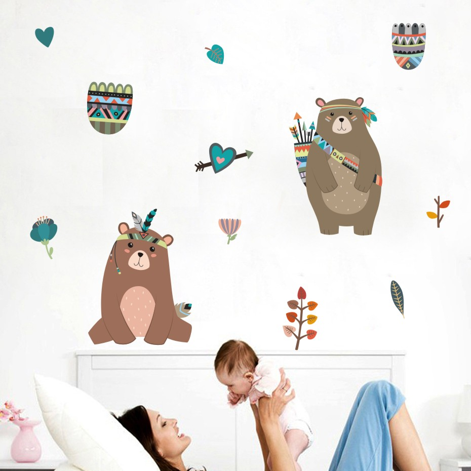 Lovely Bear Color Wall Stickers Cartoon Animals Decals For Boys Membran Assy Rx King Upgrade Yz 125 Girls Children Bedroom Home Decor Diy Mural Art Posters