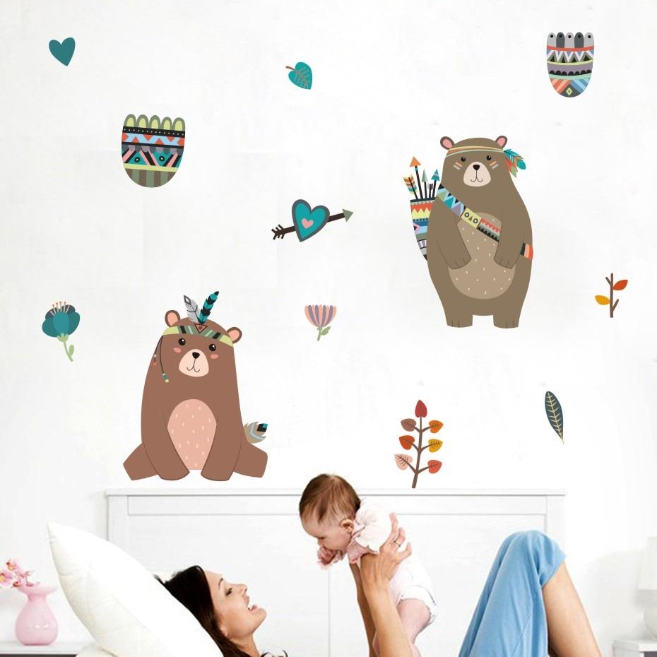 ᐃOso encantador color Adhesivos de pared animales de dibujos ...
