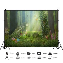 Laeacco Fairy Tale Forest Photography Backdrop Children Dreamy Scene Photo Studio Mushroom Elves Flowers Photographic Background free shipping fairy tale digital kids studio photography background backdrop 5x10ft baby children fabric backdrop a 1187