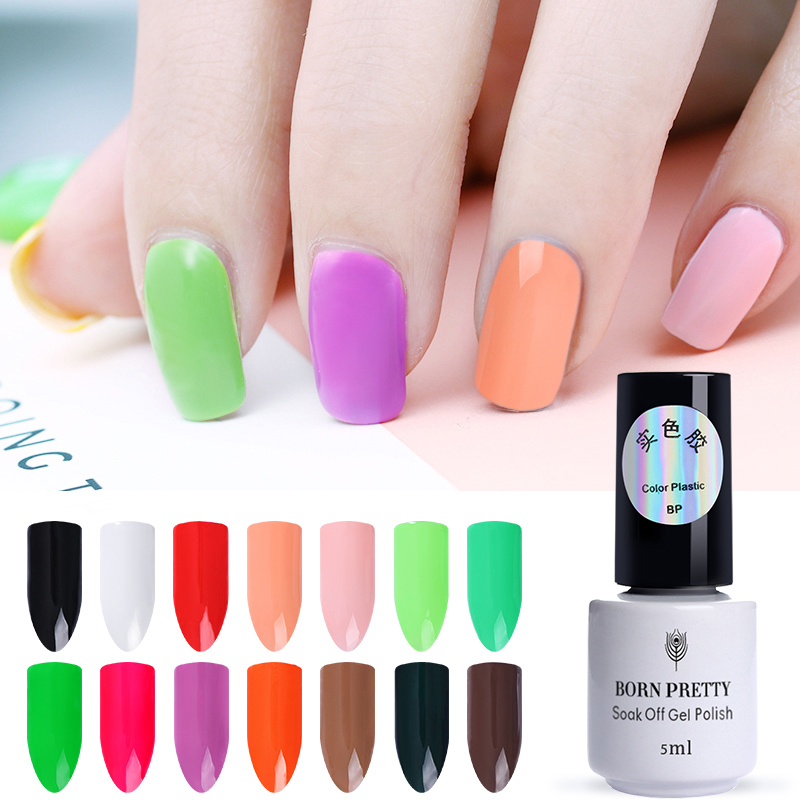 BORN PRETTY 5ml Macaron Nail UV Gel Light Pure Colors Polish Nail Art Varnish Manicure Gel Lacquer Varnish UV LED Lamp Needed