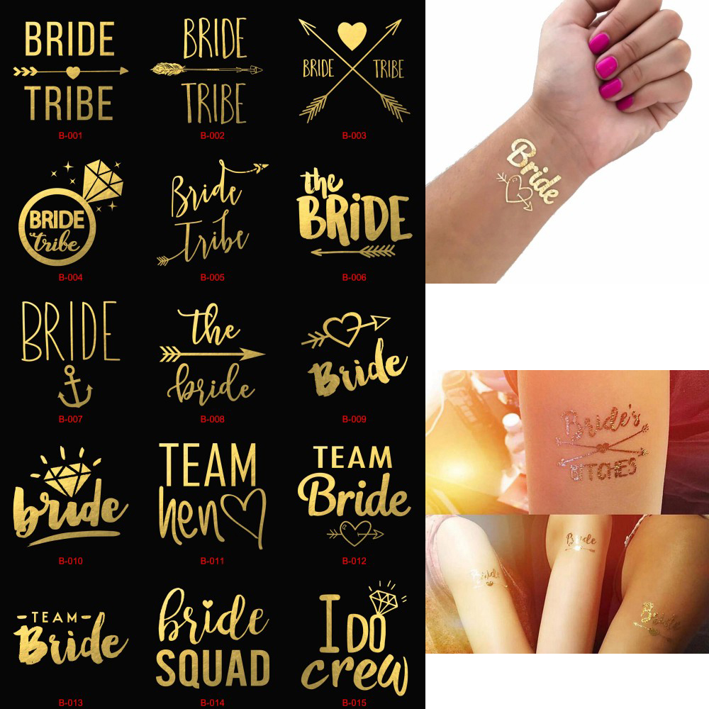 1pc Bachelorette Party Team Bride Bridesmaid Tribe Squad Temporary Tattoo Hen Night Golden Sticker Bride To Be Wedding Supplies in Party DIY Decorations from Home Garden