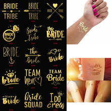 1pc Bachelorette Party Team Bride Bridesmaid Tribe Squad Temporary Tattoo Hen Night Golden Sticker To Be Wedding Supplies