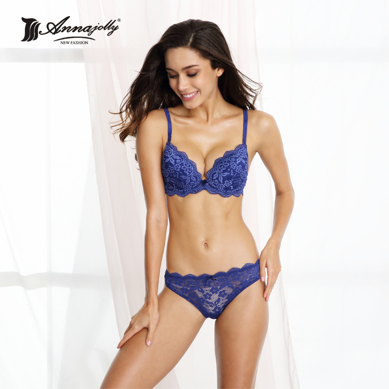 fdf955d9142 Annajolly Women Underwear Sexy Lace Floral Push Up Bra And Panties Blue Fashion  New Plus Size Bras Briefs Lingerie Clothing 7314