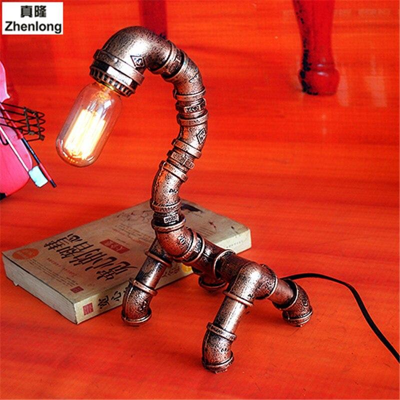 Железный робот настольная лампа Лофт творческой личности водопровод подвесной светильник в письменном виде настольная лампа светодиодный
