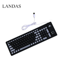 Landas Portable Wired Silicone French Spanish Keyboard For Desktop Computer Laptop Roll Up Waterproof Soft Silicone