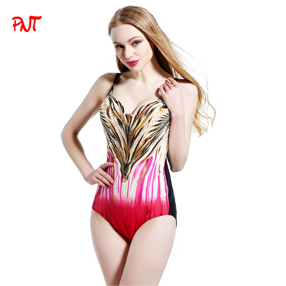 PNT083 Plus Size Swimwear Women One Piece Swimsuits Shiny Diamond Beachwear Beautiful Stripe Print Black Sexy Girl Bathing Suit