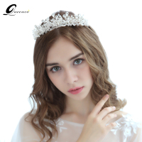QUEENCO Bridal Luxary Crystal Crown Tiara Pearls Headband Women Jewelry Ornament Handmade Wedding Hair Accessories
