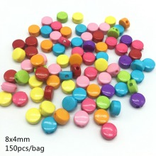 Meideheng Acrylic Bright colors Oblate round Wafer beads Fit Jewelry Handmade DIY Craft earrings Accessories 8*4mm 150pcs/bag