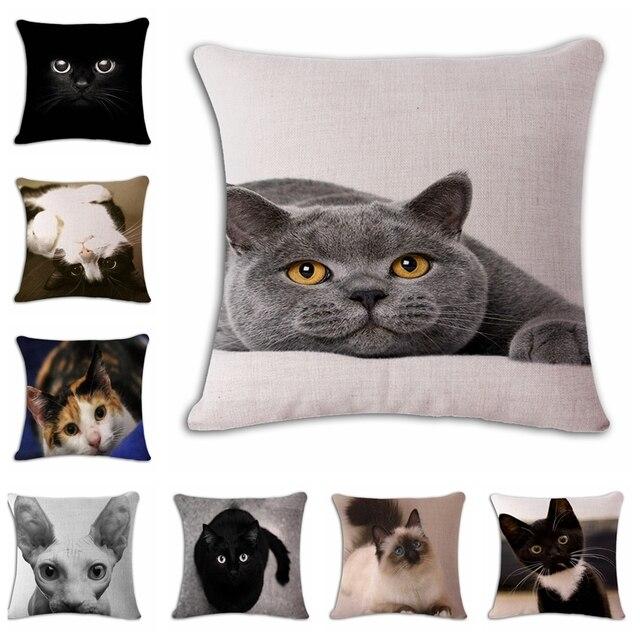 Mostra MOE Simpatico Gatto Fodere per Cuscini di Lino Stampa Affetto Divano Segg