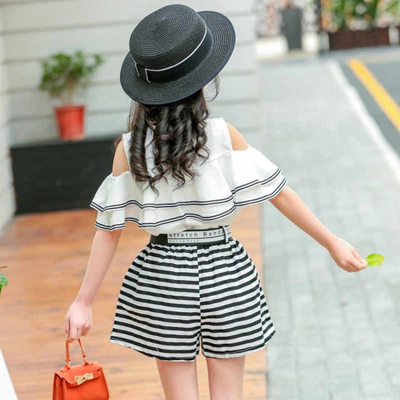 Модная одежда для девочек с оборками, рукава с оборками, женская блузка с оборками + шорты в полоску, комплект из 2 предметов, нарядный летний комплект одежды