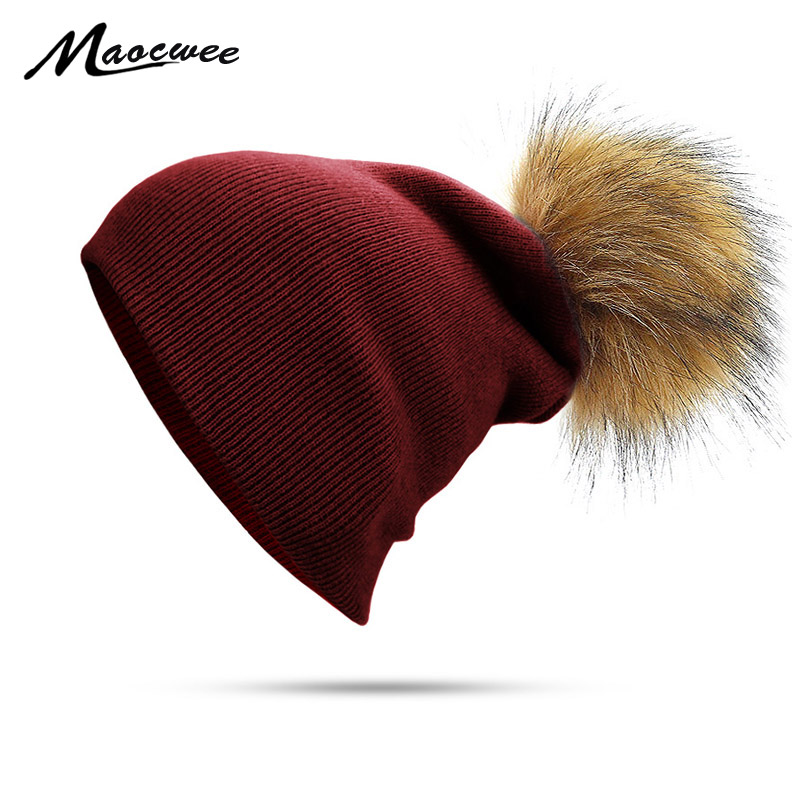 Women Autumn Winter Beanies With Faux Fur Pompom Solid Green Black Pom Pom Hats  For Girls Knitted Skuilles Beanies Caps Dad Hat 012c8dc686b
