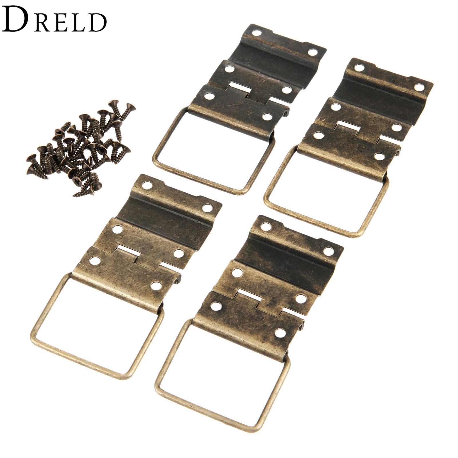 DRELD 4Pcs 29*45mm Antique Cabinet Hinges Furniture Accessories Door Hinges Drawer Jewellery Box Hinges For Furniture Hardware 1 pair 4 inch stainless steel door hinges wood doors cabinet drawer box interior hinge furniture hardware accessories m25