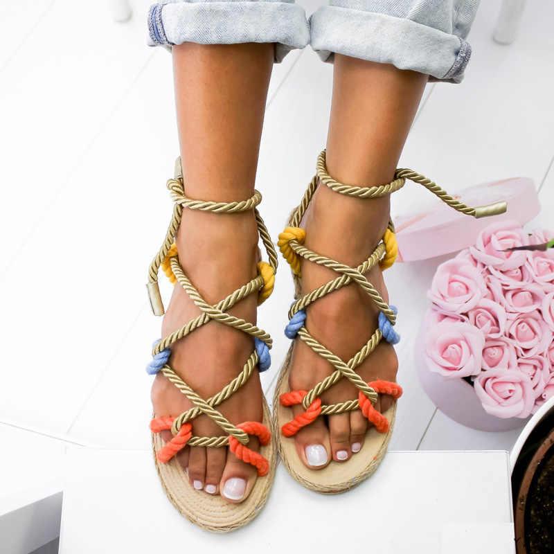 Sommer Flache Sandalen Frauen Mode Gladiator Sandalen Flip-Flops Schuhe Frau Rom Stil Cross Strap alias mujer 2019 WSH3383