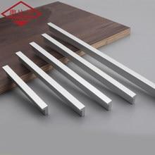 AOBT Silver Drawer Handles Aluminum Alloy Simple Long American Cabinet Cupboard Pulls Wardrobe Door Handle Hardware 206