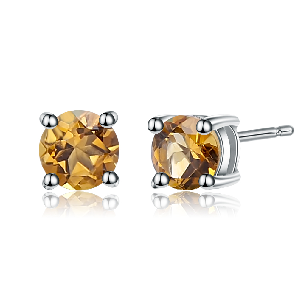 Round  AMBER  Sterling  Silver  925  Gemstone  Earrings STUDS 5 mm