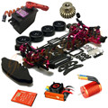 Alloy & Carbon 1/10 SAKURA D4 RWD/AWD Drift Racing Frame Kit & SKYRC 60A ESC&9T 4370KV brushless motor& program card