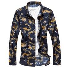 Модная мужская Осенняя рубашка с длинными рукавами и отворотом Молодежная плюс sizeM-7XL рубашка с цветочным принтом хлопковый Гавайский цветок топ