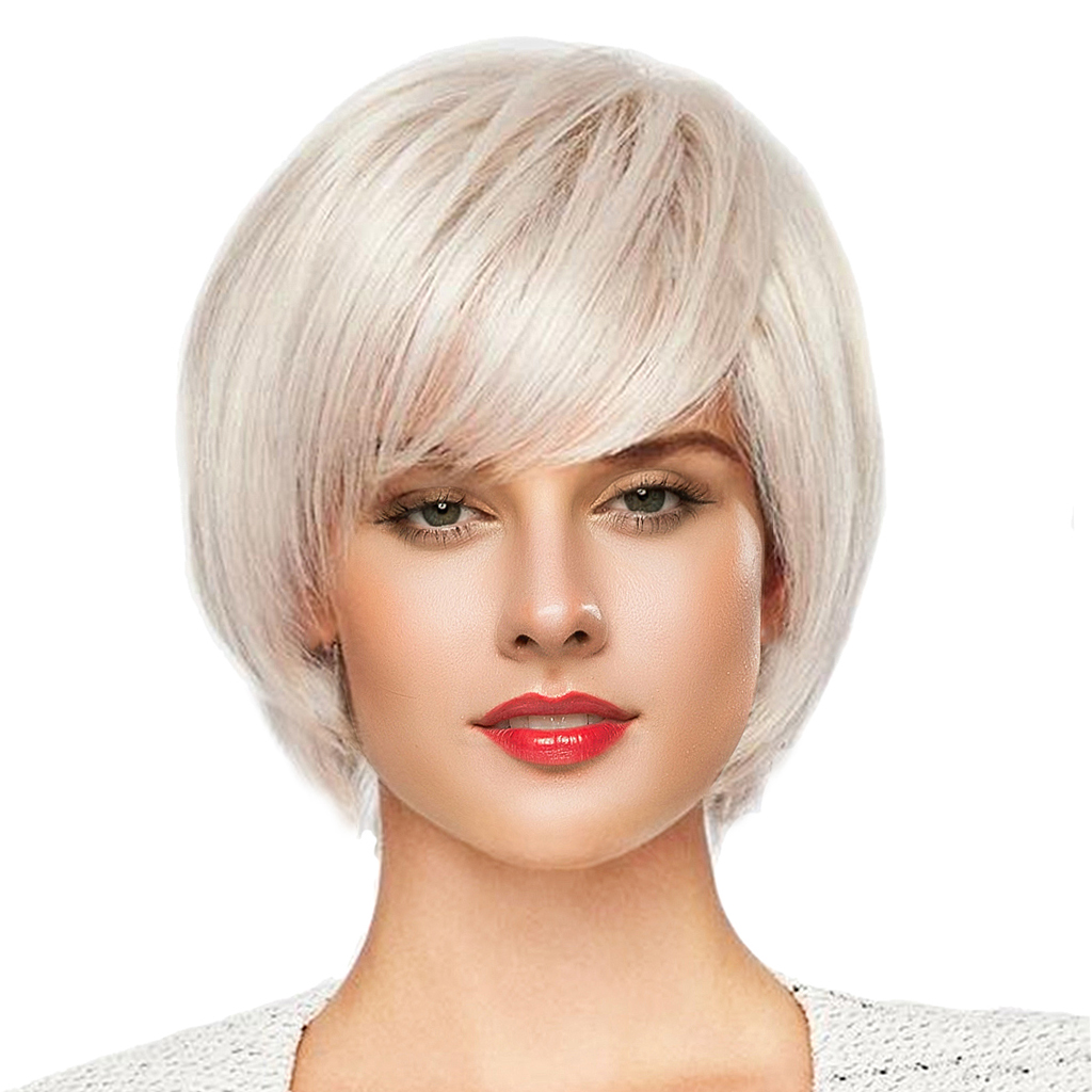 8 inch Short Straight Wigs Human Hair Pixie Cut Chic Wig for Women w/ Bangs Silver stylish straight neat bang human hair bob women s wig