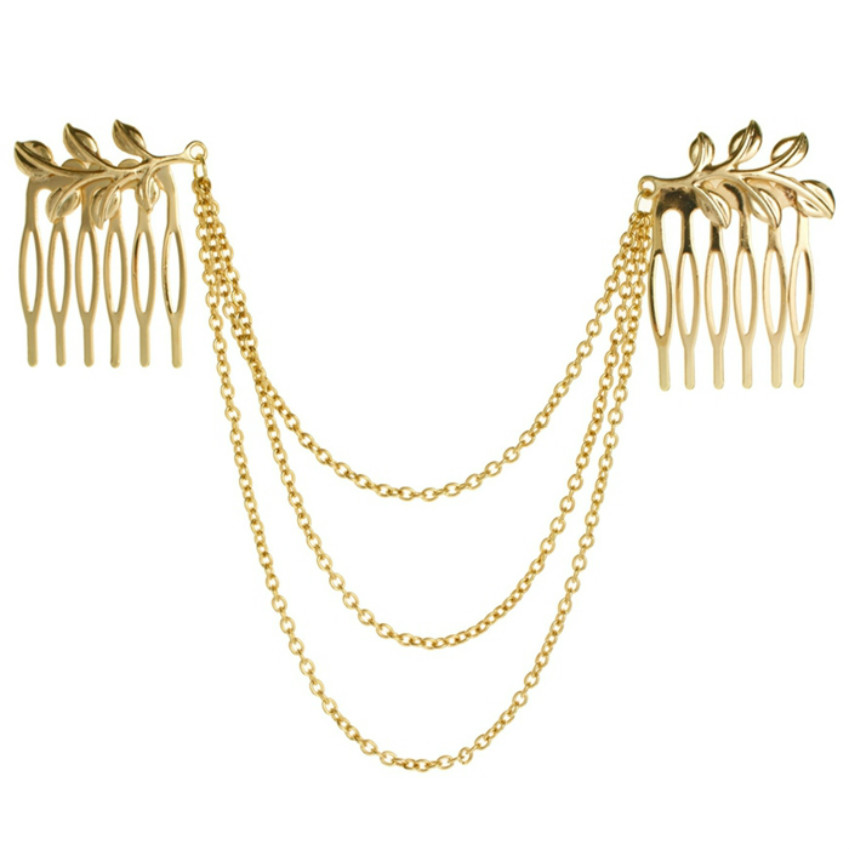 The New Women's Hair Ornaments Comb Golden Tassels Sleeves Hs