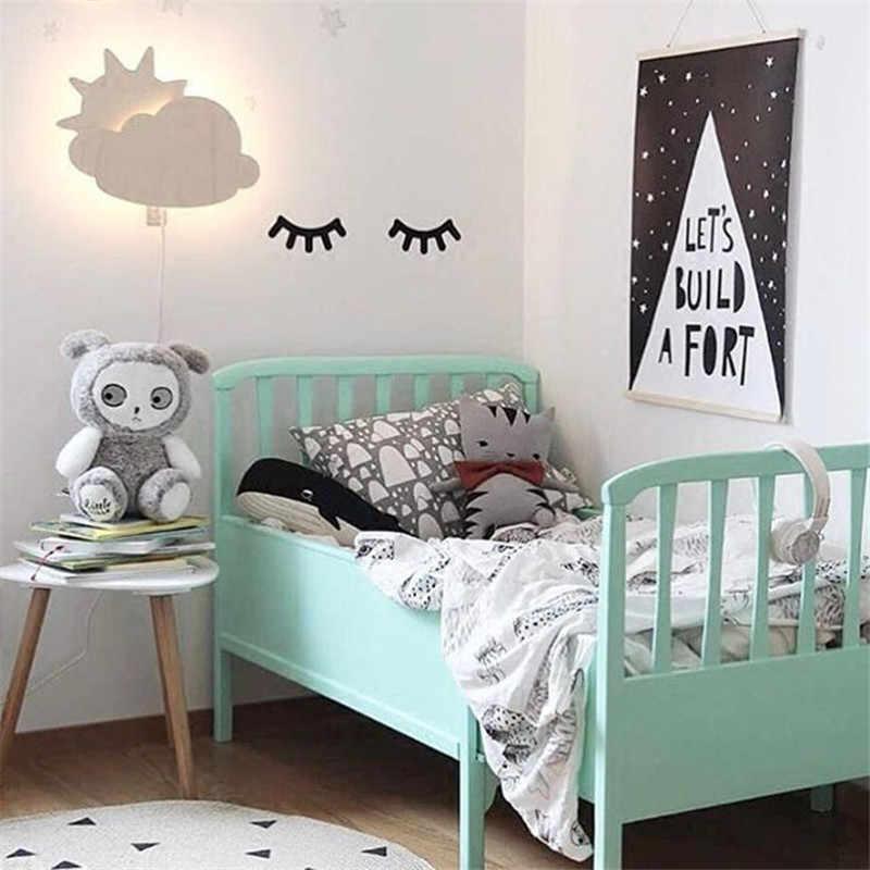 2 adet ahşap 3D sevimli uykulu gözler kirpik desen duvar Sticker DIY çocuk odası oturma odası dekorasyon bebek kreş duvar sanat