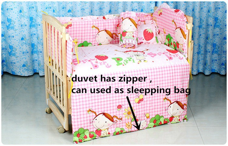 Фото Promotion! 6PCS cotton baby bedding kit baby bed set,Bedding Sets Crib mattress  (3bumpers+matress+pillow+duvet) 100*60/110*65cm. Купить в РФ